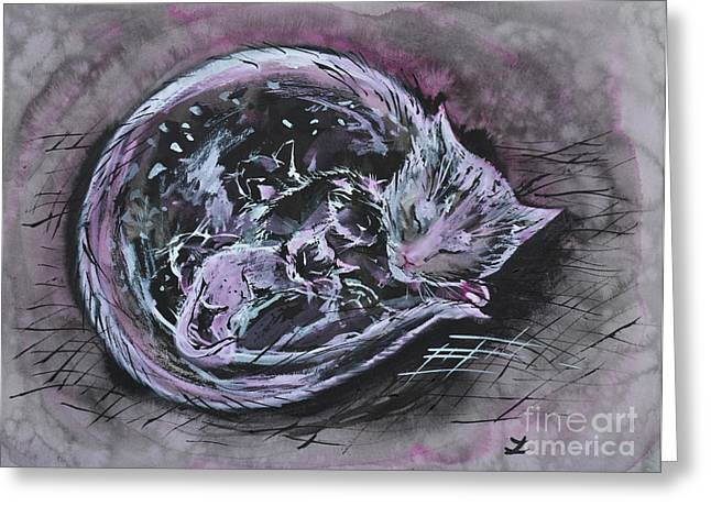 Greeting Card featuring the painting Mother Cat With Kittens by Zaira Dzhaubaeva