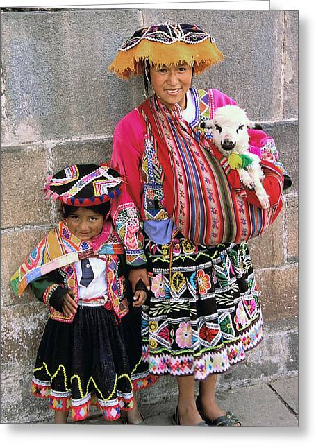 Mother Child  And Lamb Cuzco Greeting Card by Alan Lenk