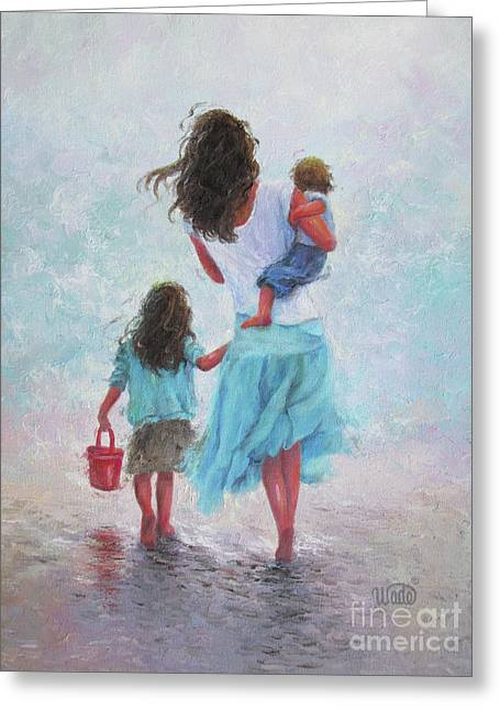Mother Daughter Baby Son Beach Greeting Card by Vickie Wade