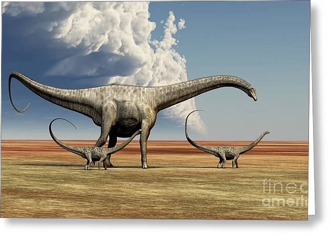Mother Diplodocus Dinosaur Walks Greeting Card by Corey Ford