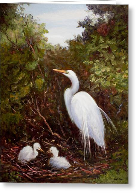 Mother Egret And Nestlings Greeting Card