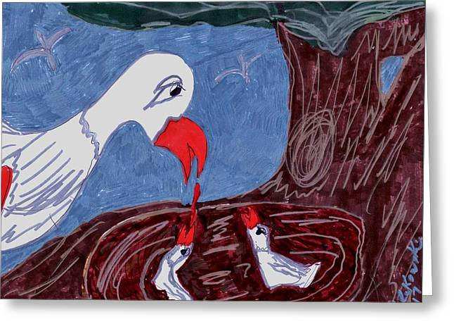 Mother Goose Feeding Her Young Greeting Card by Elinor Helen Rakowski