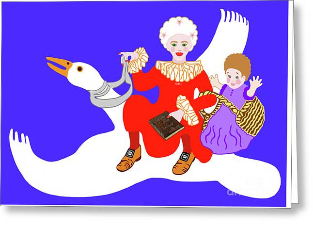Mother Goose On Her Flying Goose Greeting Card by Marian Cates