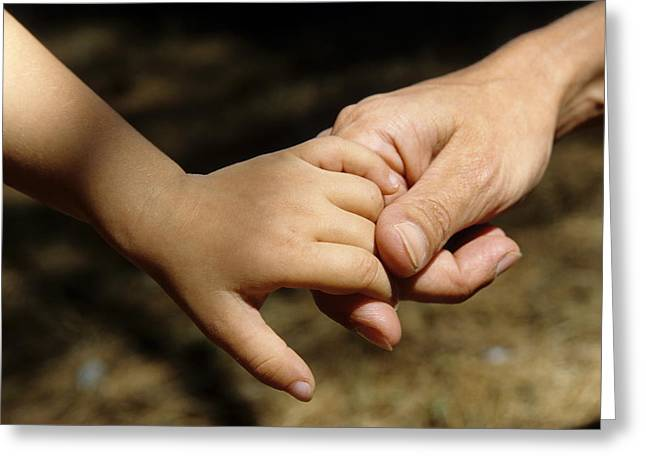 Bonding Greeting Cards - Mother holding baby daughters hand Greeting Card by Sami Sarkis