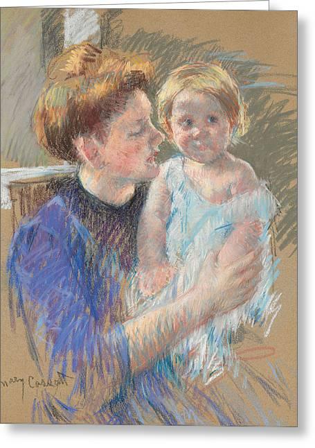 Mother In Purple Holding Her Child Greeting Card by Mary Stevenson Cassatt