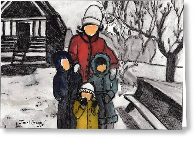 Mother, Karla, Janel And David On Snowy Day Greeting Card by Janel Bragg