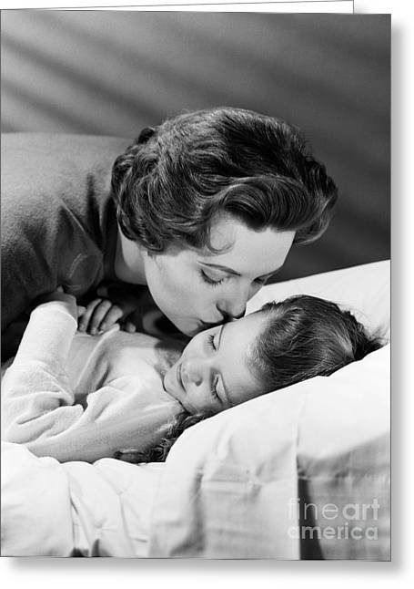 Mother Kissing Girl Goodnight, C.1950s Greeting Card