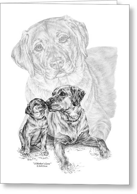 Mother Labrador Dog And Puppy Greeting Card