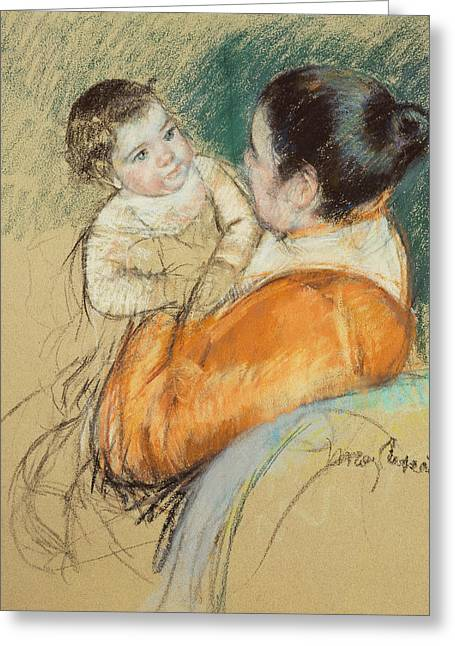 Mother Louise Holding Up Her Blue Eyed Child Greeting Card by Mary Stevenson Cassatt