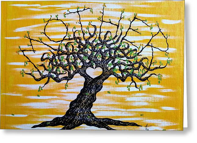 Greeting Card featuring the drawing Mother Love Tree by Aaron Bombalicki