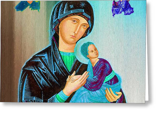 Mother Mary Greeting Card by Ericamaxine Price