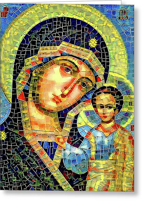 Mother Mary Mosaic Icon 1 Greeting Card