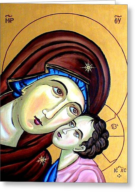Child Reliefs Greeting Cards - Mother Mary Greeting Card by Murali