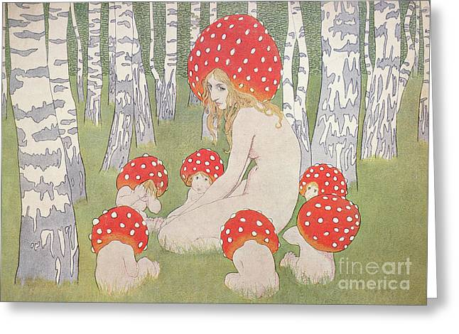 Mother Mushroom With Her Children Greeting Card