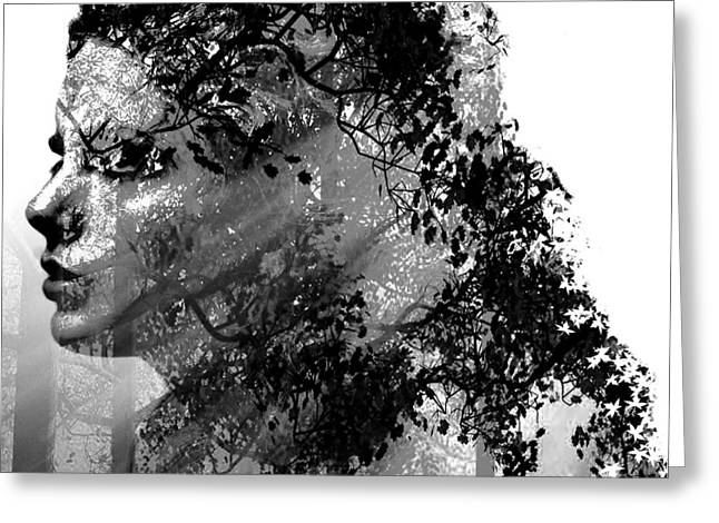 Mother Nature Black And White Greeting Card by Marian Voicu