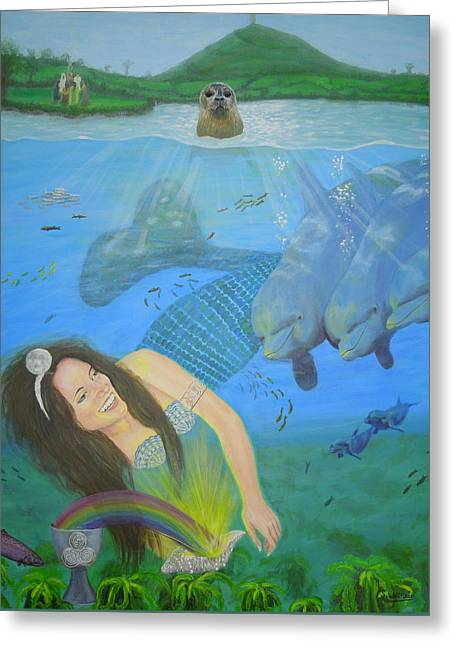 Mother Of Water Goddess Domnu - Summer Solstice Greeting Card by Shirley Wellstead
