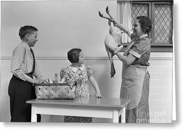 Mother Showing Turkey To Children Greeting Card