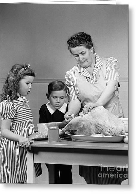 Mother Stuffing Thanksgiving Turkey Greeting Card
