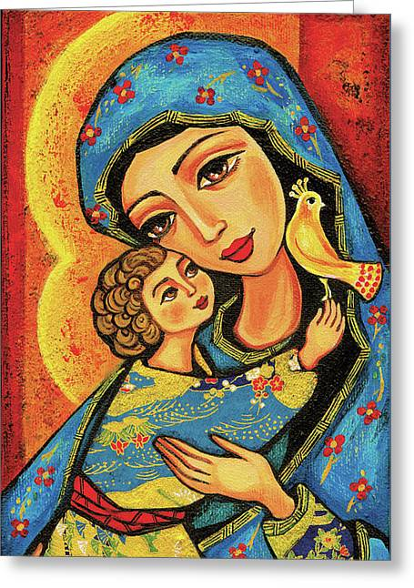 Greeting Card featuring the painting Mother Temple by Eva Campbell