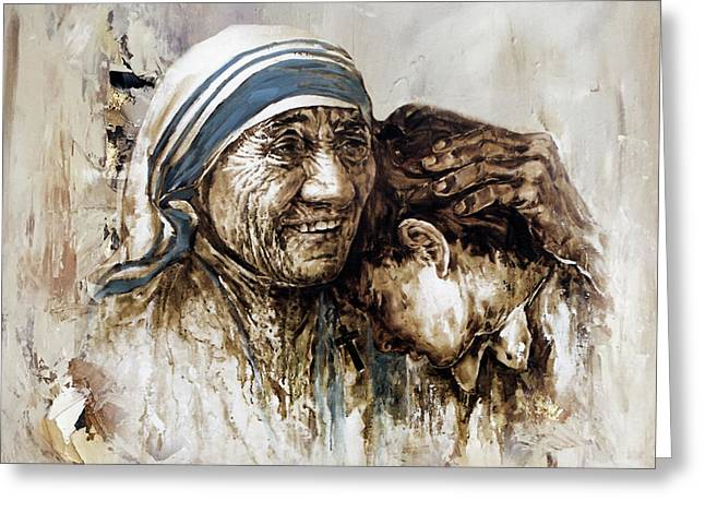 Greeting Card featuring the painting Mother Teresa  by Gull G
