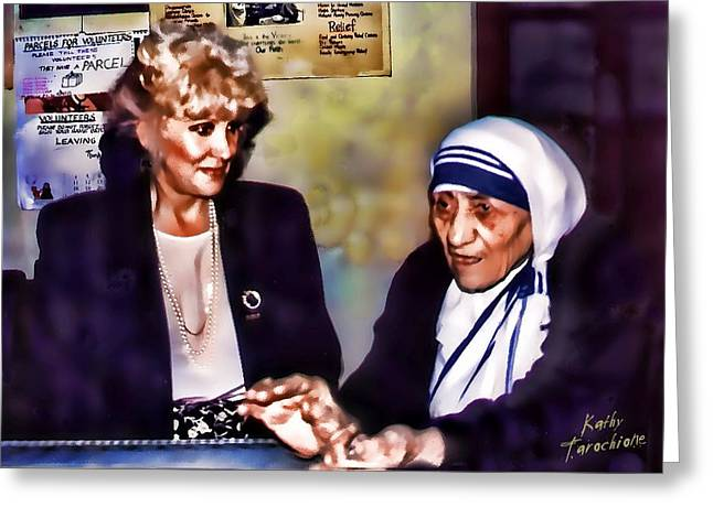 Mother Teresa In Calcutta Greeting Card by Kathy Tarochione