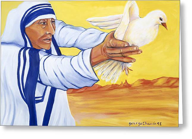 Mother Teresa In New Mexico Greeting Card by George Chacon