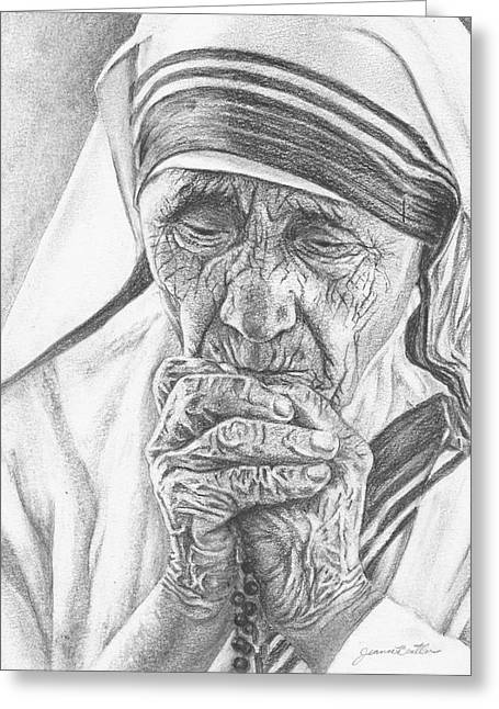 Mother Teresa Greeting Card by Jeanne Beutler