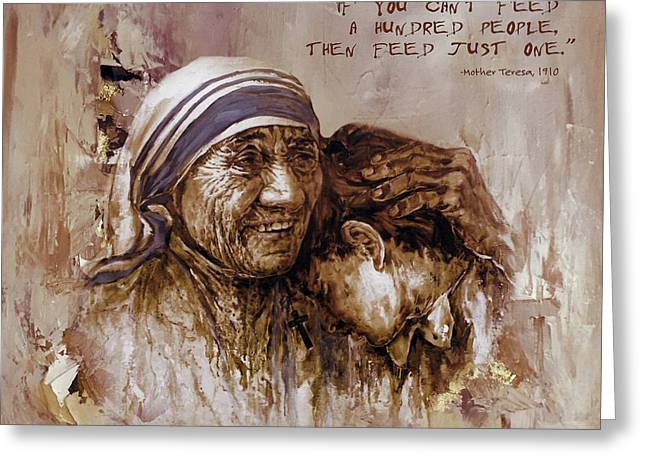 Greeting Card featuring the painting Mother Teresa Of Calcutta  by Gull G