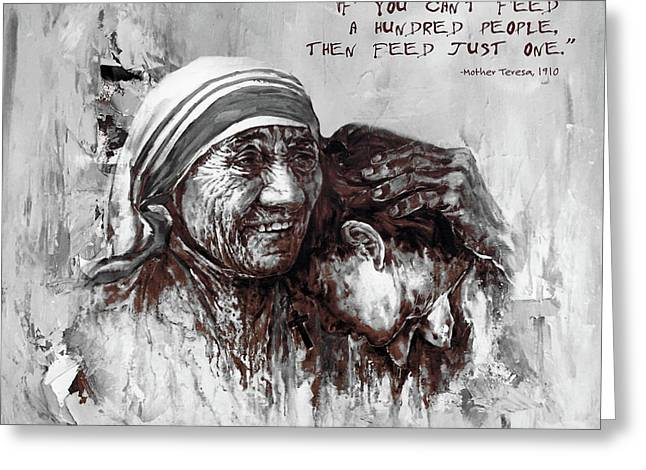 Greeting Card featuring the painting Mother Teresa Of Calcutta Portrait  by Gull G
