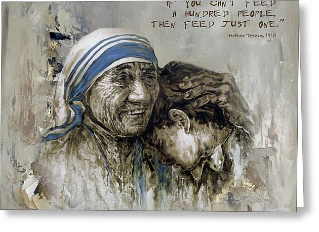 Greeting Card featuring the painting Mother Teresa Portrait  by Gull G