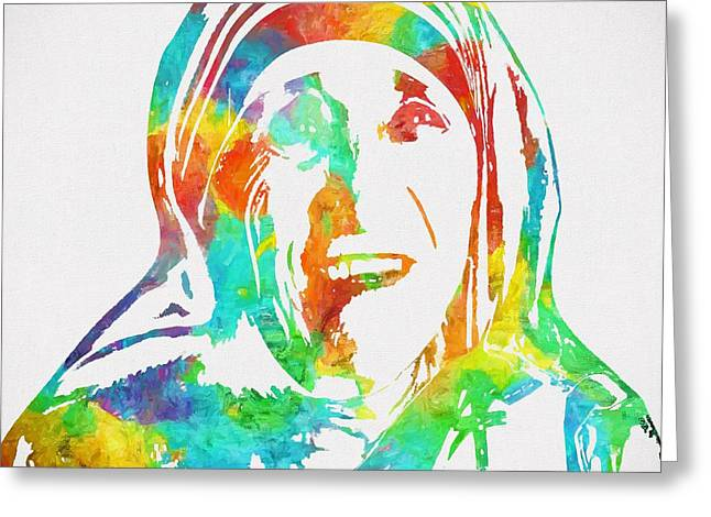 Mother Teresa Watercolor Greeting Card by Dan Sproul