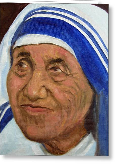 Mother Theresa Greeting Card by Asha Sudhaker Shenoy