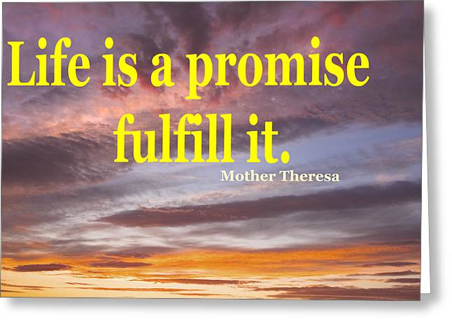 Mother Theresa Quote And Colorful Clouds At Sunset Greeting Card by Keith Webber Jr