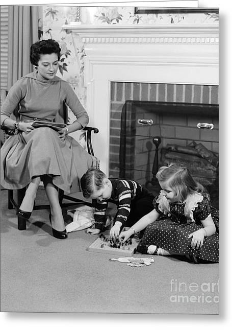 Mother Watching Children Play A Game Greeting Card by H. Armstrong Roberts/ClassicStock