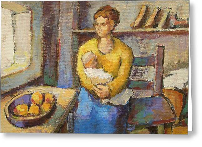 Mother With Child Greeting Card by Alfons Niex