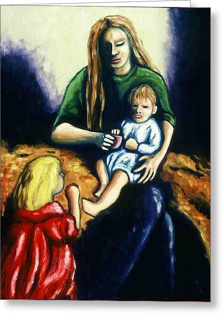 Mother With Children Greeting Card by Helen O Hara