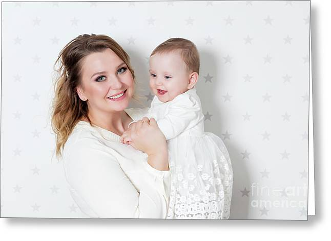Mother With Her Newborn Baby Daughter. Portrait On Starry Wallpaper Greeting Card by Michal Bednarek