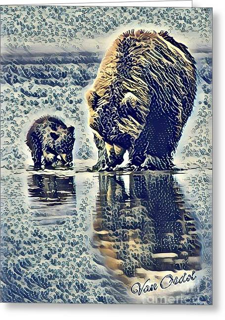 Mother With Young Cub - At The Rivers Edge Abstract  Greeting Card