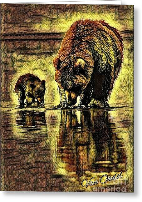 Mother With Young Cub - Autumns Arrival Abstract  Greeting Card