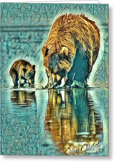 Mother With Young Cub - Morning Frost Abstract  Greeting Card
