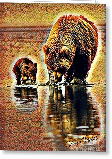 Mother With Young Cub - Reflections Of Fall Abstract  Greeting Card