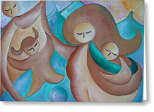 Greeting Card featuring the painting Motherhood Family Oil Painting Us Today Original By Gioia Albano by Gioia Albano