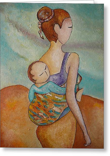Greeting Card featuring the painting Motherhood Painting Walking With You Original Oil By Gioia Albano by Gioia Albano