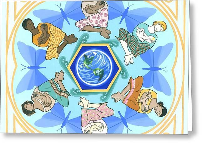 'mothering' Mandala Greeting Card by Karen MacKenzie