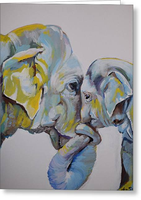 Motherly Elephant  Greeting Card by Anne Seay