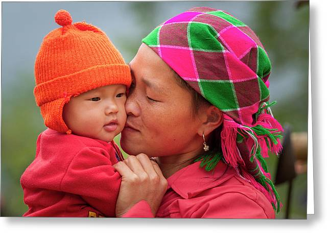 Greeting Card featuring the photograph Motherly Love, Sa Pa, 2014 by Hitendra SINKAR