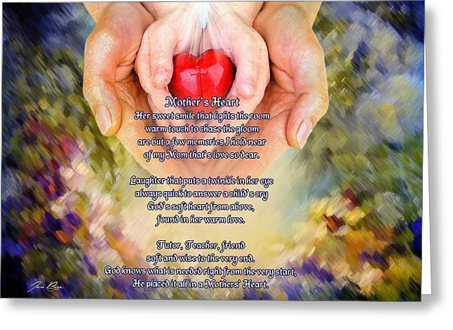 Mother's Heart Poem Greeting Card by Jennifer Page