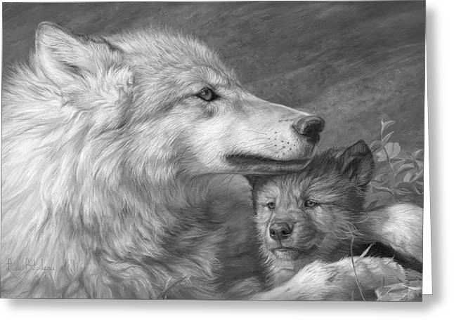 Mother's Love - Black And White Greeting Card by Lucie Bilodeau