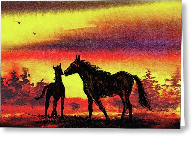 Greeting Card featuring the painting Mother's Love - Two Horses by Irina Sztukowski