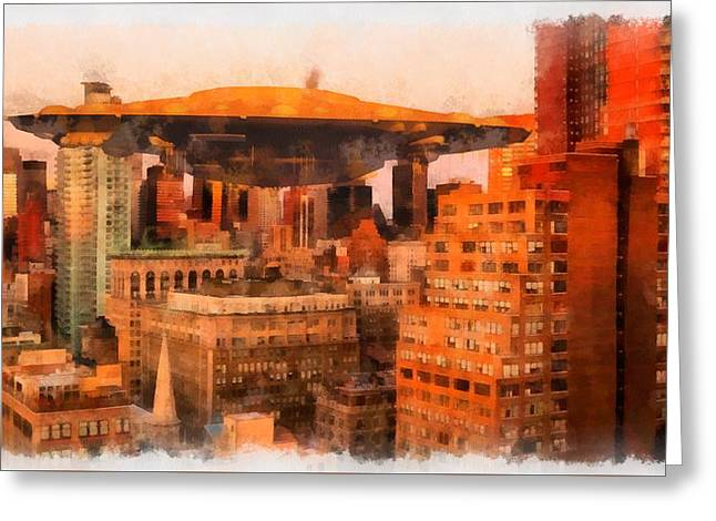 Mothership Descends Greeting Card by Esoterica Art Agency